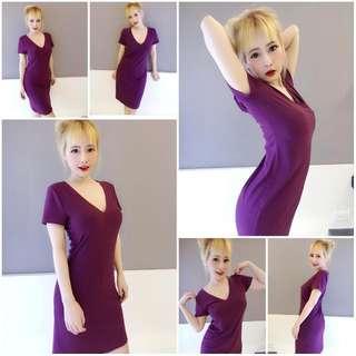 🚚 #Forever21 #forever 21 深紫色V領全彈性短袖長版洋裝 全新上架 #v領洋裝 #大v領 #fiftyshadesofgrey #約會洋裝