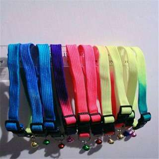 Bundle Of 6 Pet Cat/Dog Ombre Collar With Bell