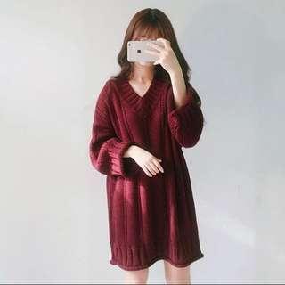 酒紅針織洋裝