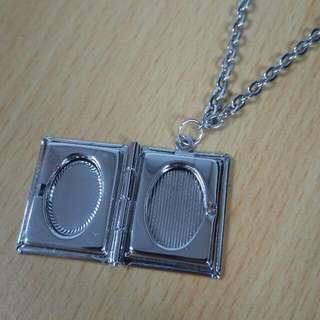 Silver Locket (Book Design) with Chain