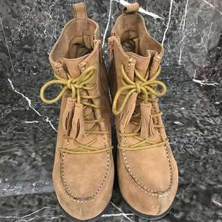 🚚 駝色楔型厚底綁帶短靴 #五百元好女鞋