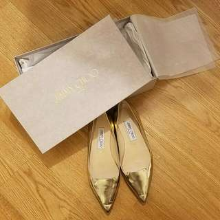 Jimmy Choo Champagne Gold Mirror Flats