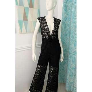 H&M Black Lace Jumpsuit