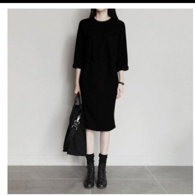 黑色長版洋裝