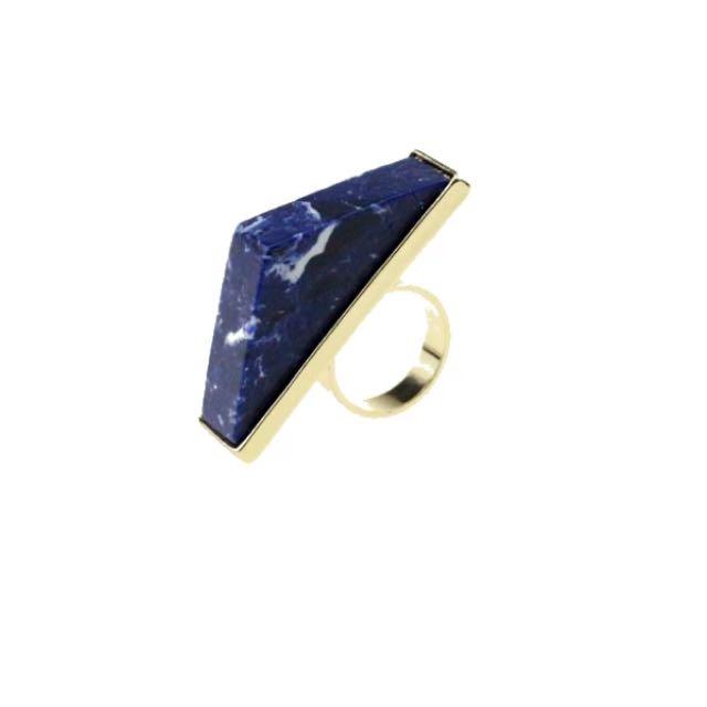 藍色三角大理石戒指