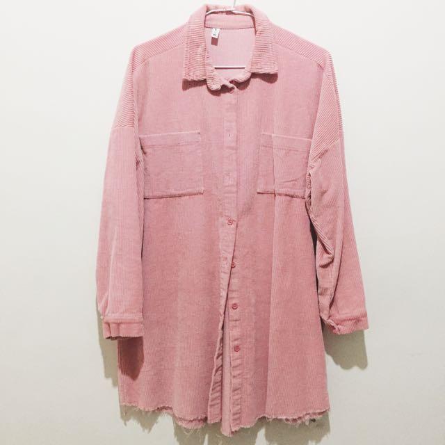 粉色 燈芯絨長版襯衫(近全新)