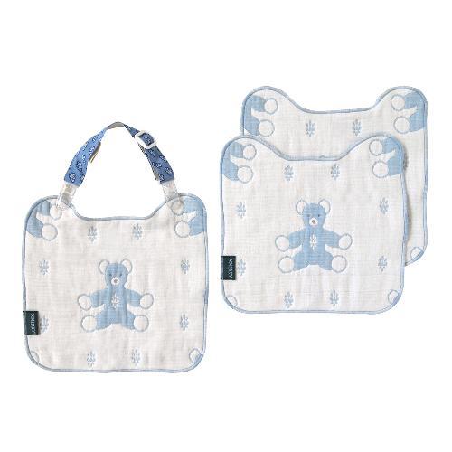 日本直送 Hoppetta SOULEIADO 六重紗小熊多功能 芙蓉夾手帕組合 (粉藍)  baby bibs 圍兜 口水肩