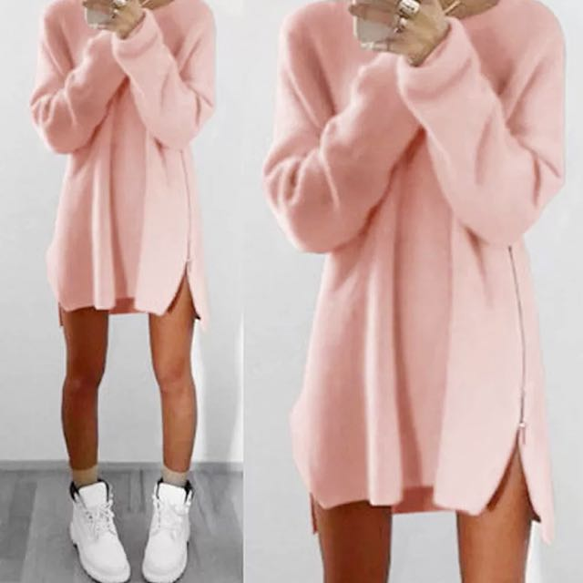 🎀 Pink Knit Jumper With Side Zipper