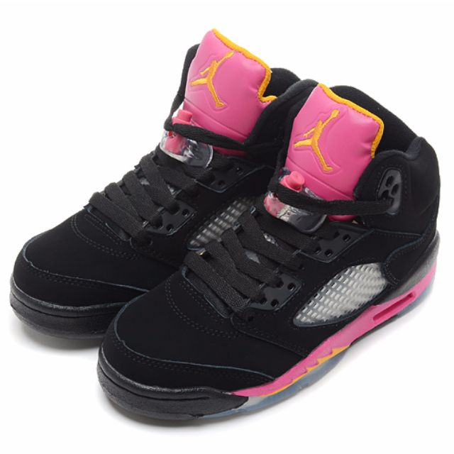 Air Jordan 5 Retro GS - Black/Bright Citrus-Fusion Pink