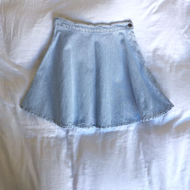 American Apparel Denim Strip Skater Skirt