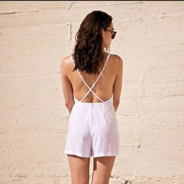 American Apparel White Playsuit