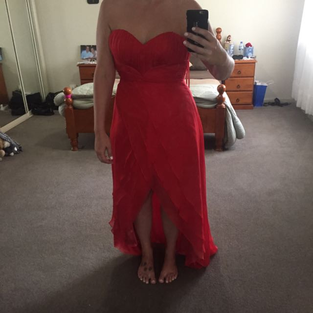 Bariano Floor Length Strapless Coral Dress