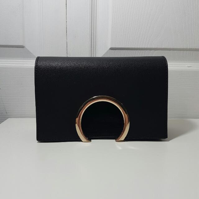 Black Leather And Suede Crossbody