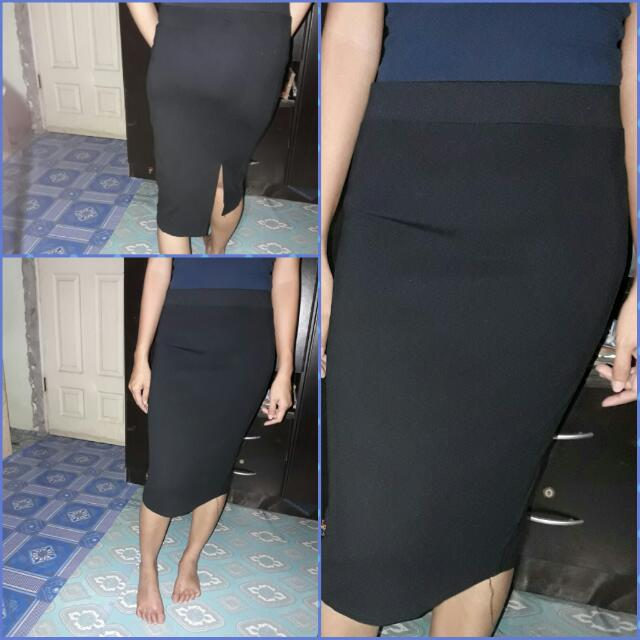 Black Pencil Cut Skirt With Back Slit