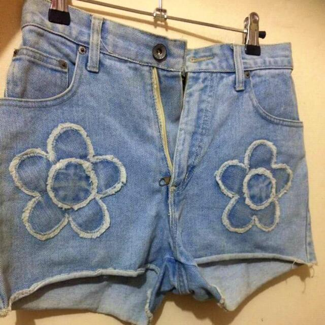 Blue Denim Floral Short Mid Waist
