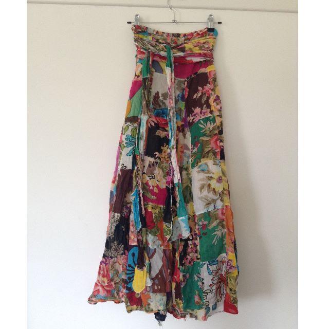 bohemian patchwork maxi skirt