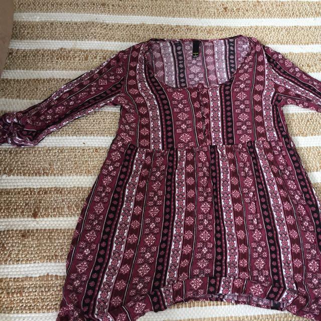 Boho Maroon Dress