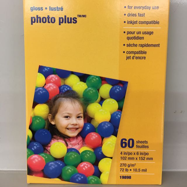 Brand New - Staples 60 Sheets Photo Plus Paper 4in x 6 in - Gloss!!