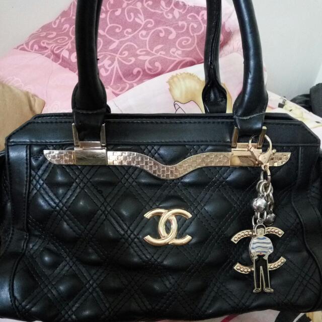 Channel Black Leather Bag