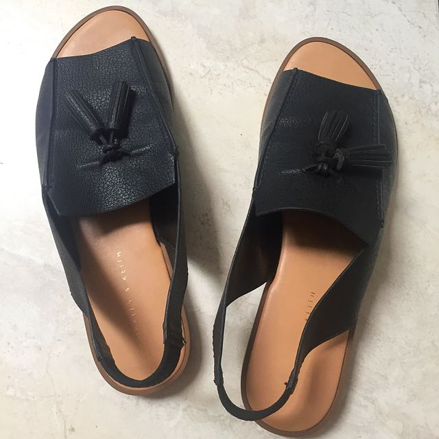 Charles and Keith Open Toe Tassel Slingback