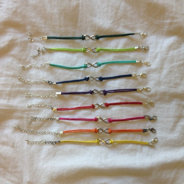 Coloured Infinity Bracelets Set