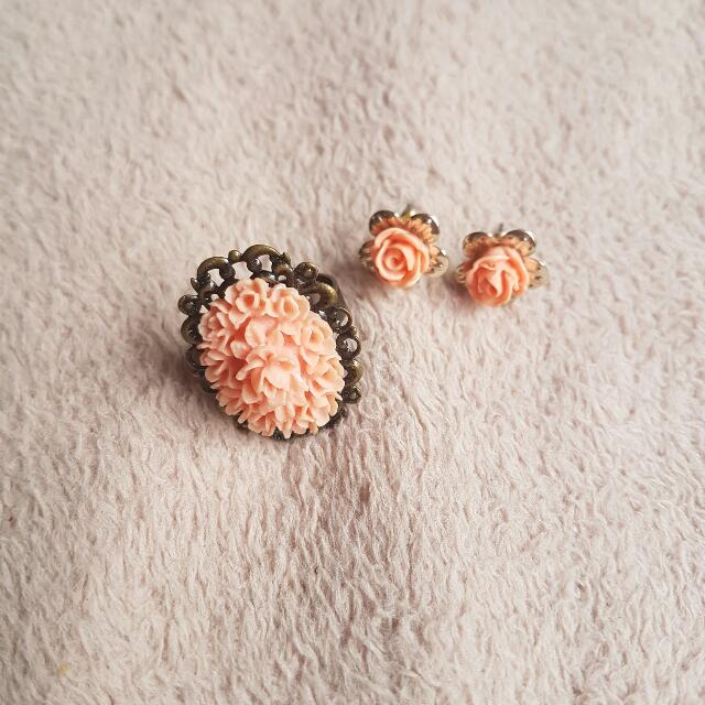 Coral Rose Flower Ring And Earrings Set