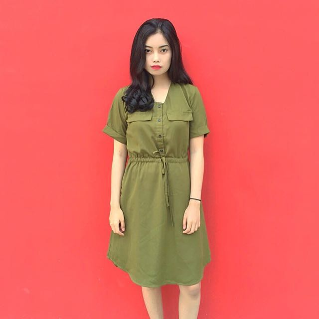 Cottonink Dress Green Army