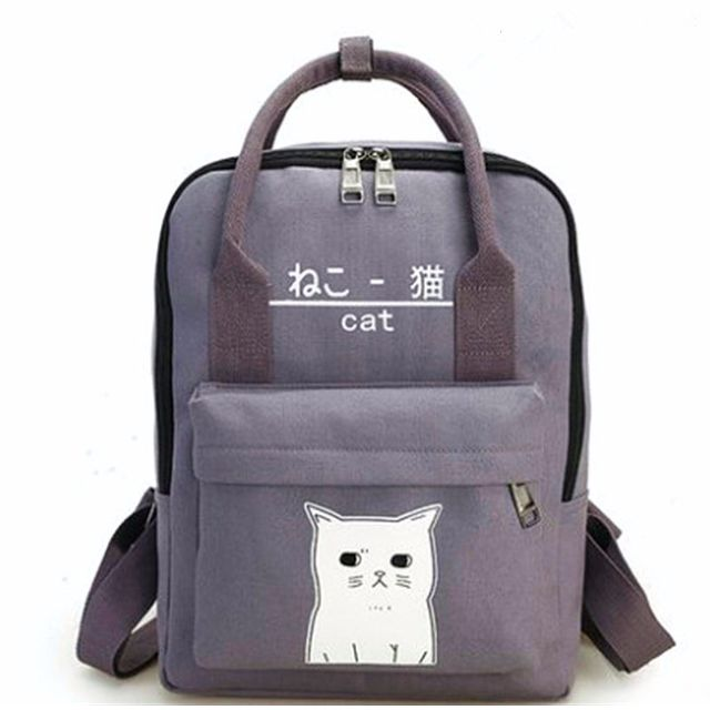 Cute Grey Cat Canvas Backpack