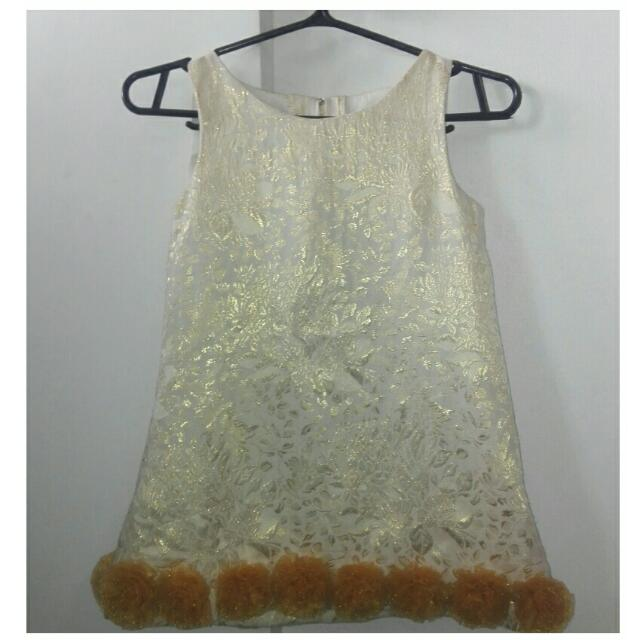 Dress with Gold Flower Prints