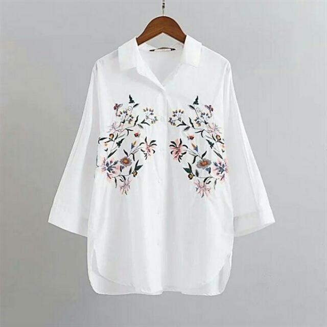 Embroidered White Shirt