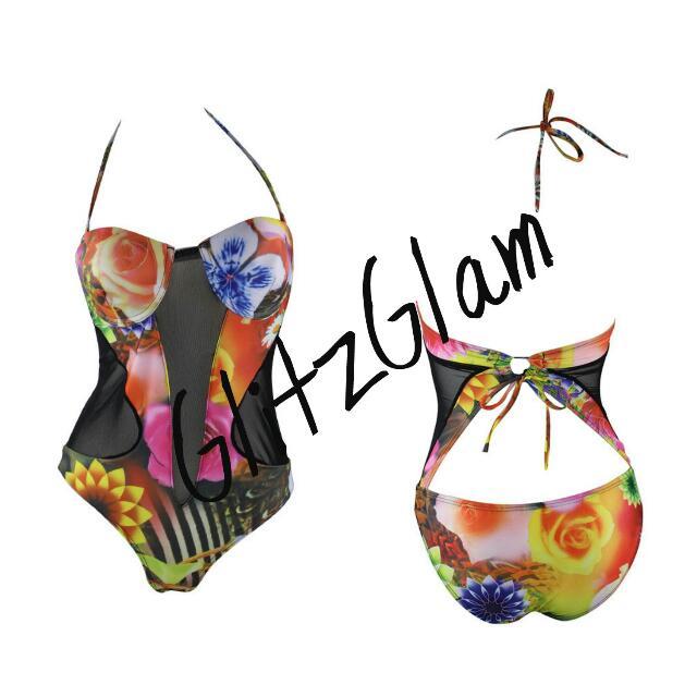 Floral Print Mesh Cut Out Monokini