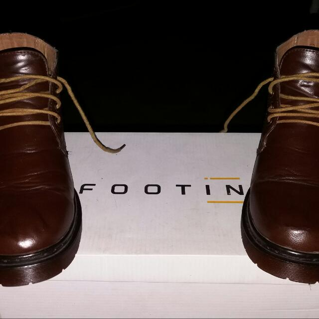 Footin Dark Brown Leather Boots Original (Size 40 / Panjang 25cm) #BarterYuk