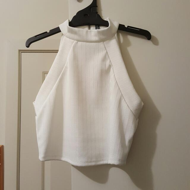 Forevernew White High Neck Crop Top