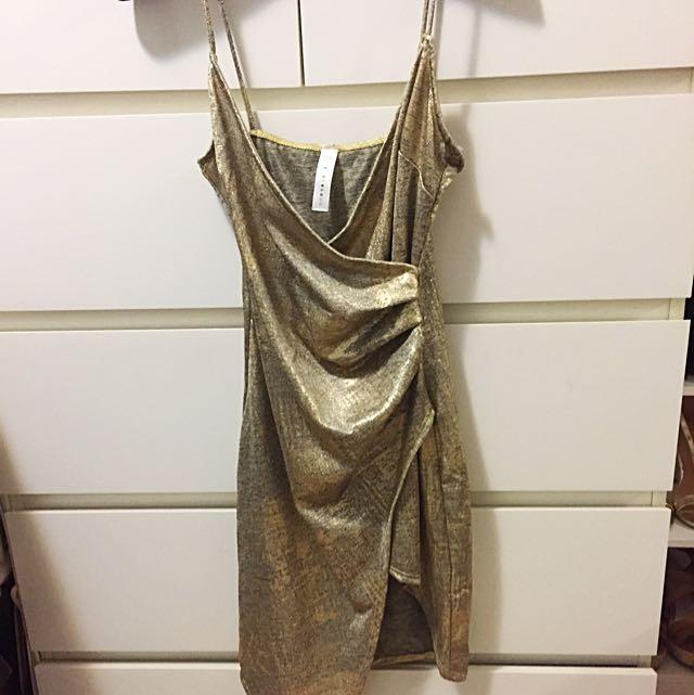 Ruched Metallic Dress (S)
