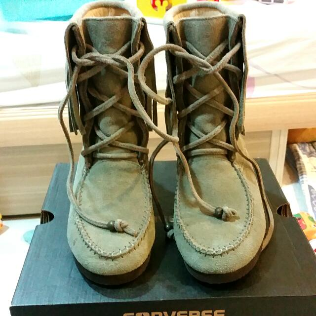 Gracegift 麂皮流蘇靴 36