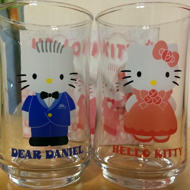 Hello kitty & Daniel 玻璃對杯
