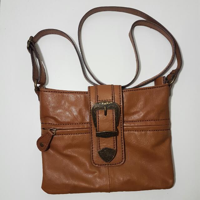 Hibou Brown Small Leather Crossbody Bag