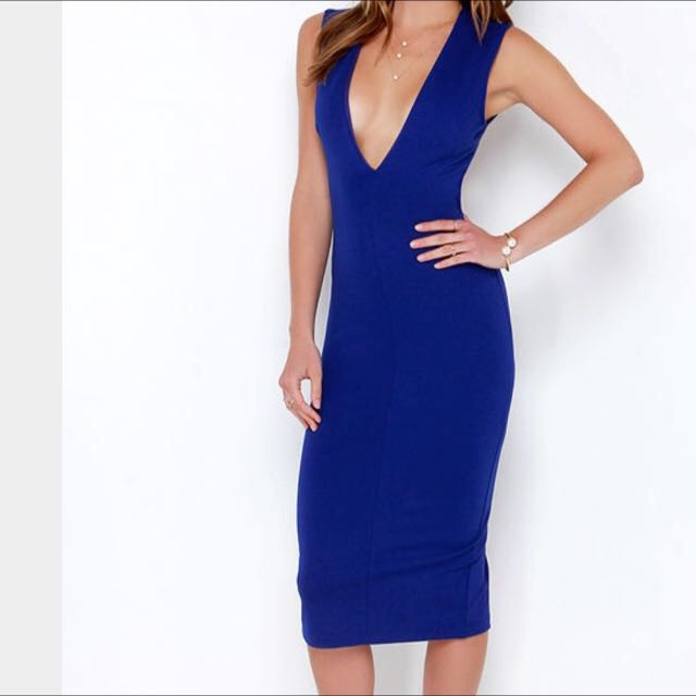 HIGH SPEED CHASE ROYAL BLUE BACKLESS MIDI DRESS