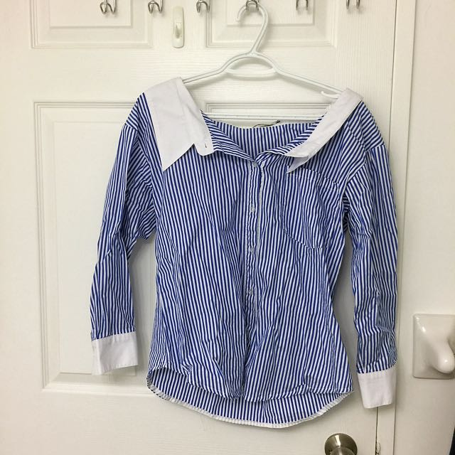 Korean Brand Wide Shoulder Striped Shirt
