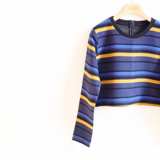 Korean Long Sleeves Crop Blouse