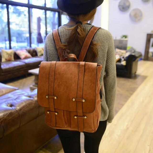 f80ddb66d1 Korean Style Vintage Leather Backpack