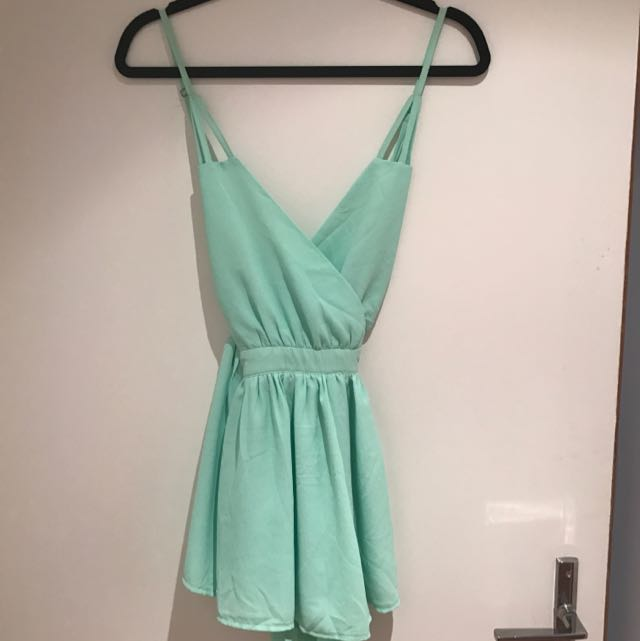 Low crossed back Mint Playsuit - Size 8