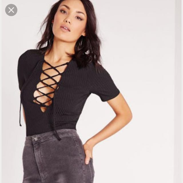 Missguided Lace Up Top