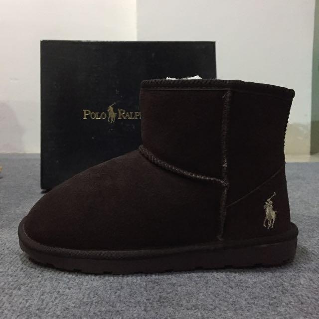 [全新]Polo Ralph Lauren 磨砂麂皮 短筒雪靴 可可色 韓國帶回
