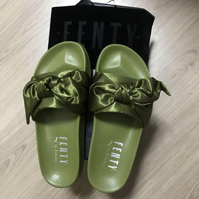 81ef11f2341e Puma Rihanna Fenty Olive Slippers Slides UK6