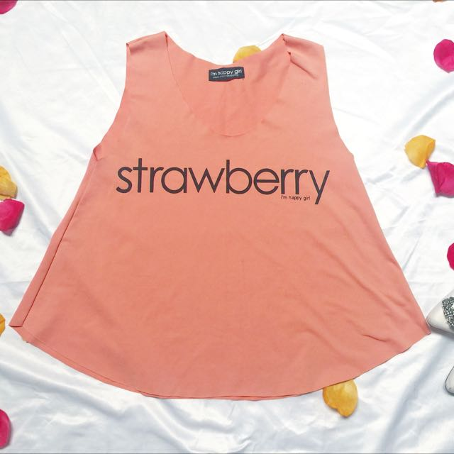 Strawberry Peach Tank Top / Preloved Atasan Oranye / Baju Santai / Branded Top