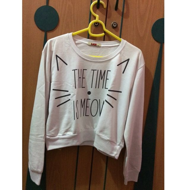 Sweater 'The Time Is Meow' Crop
