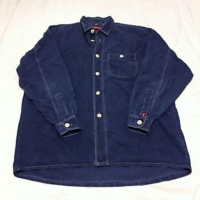 VINTAGE Indigo Denim Oversized Shirt L