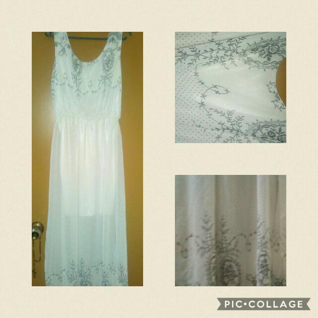 White Silk/ Chiffon Beach Dress