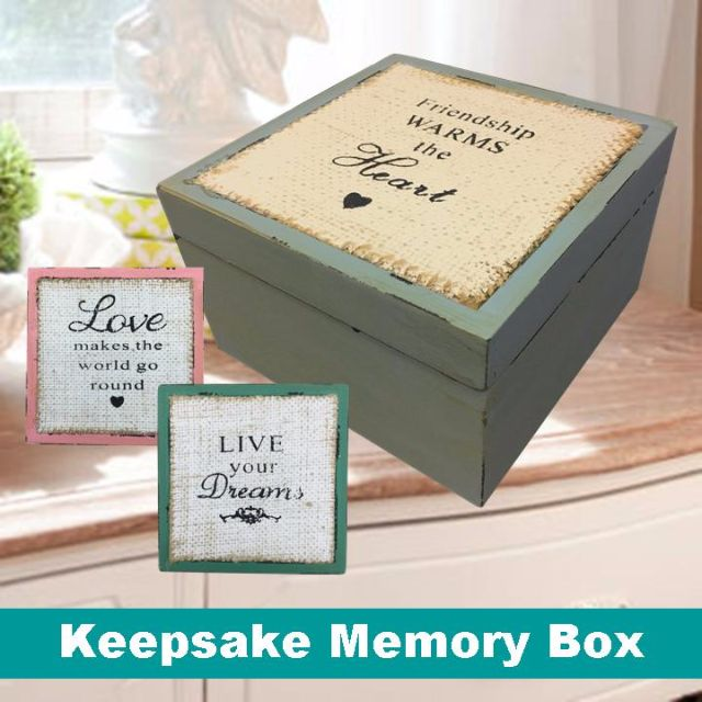 Wooden Vintage Keepsake Memory Message Storage Box